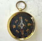 Vtg compass fob pendant small brass glass face pocket watch japan nos gold works