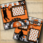 BASKETBALL 2 premade SCRAPBOOK pages paper piecing LAYOUT boy SPORTS DIGISCRAP