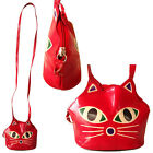 Genuine Leather Bag India Shantiniketan Small Purse Girls Red Painted Cat Face