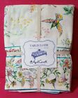 APRIL CORNELL 60 x 120 HUMMINGBIRD FLORAL TABLECLOTH CREAM PINK TURQUOISE YELLOW