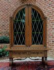 Antique Oak Catalan Spanish Mission Leaded Glass Display Cabinet Hutch Bookcase