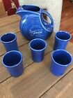 Fiesta Sapphire Disc Disk Pitcher Jug Set Limited NWT Bloomingdales 5 Tumblers