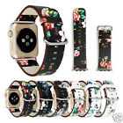 Cool Flower Floral Pattern Leather Watch Band Strap for Apple Watch iWatch 42mm