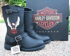 NEW Mens Genuine Harley Davidson Jerry Black Leather Motorcycle Boots D93309