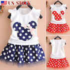 Toddler Kids Baby Girl Minnie Mouse Outfit Clothes T shirt Tops + Skirt Dress US