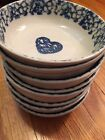 Folk Craft HEARTS by Tienshan Green Sponge Ware Bowls (Set of 8) Made in China