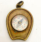 Victorian compass fob Pendant Horseshoe Etched scene aestheic period lucky charm