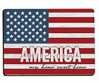 America My Home Sweet Home Red White Blue Flag Design Wood Lithograph magnet