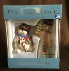 Fitz and Floyd Frosty Friends Salt & Pepper Shaker Set NIB - Christmas/Holiday