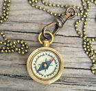 mini Compass Necklace Antique bronze watch chain Gold Brass- Works! small tiny