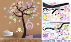 Colourful Tree Wall Sticker Removable For Kid Girl Room Lovely Owls On the Swing