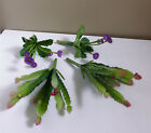 Artificial Succulents Plants Mini 2 Blooming Cactus 2 Flower GrassSet of 4