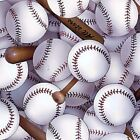 Tossed Baseballs and Bats Sports Cotton Fabric by Elizabeths Studio