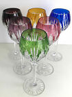 BOHEMIAN MULTI COLOR CASED CUT TO CLEAR CRYSTAL 8 WINE GOBLETS Set of 6