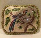 Raymond Waites Ceramic Trinket Jewelry Box Bird and Tree Leaves 7 1/2 L 5 1/2 W