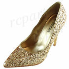 New womens evening pointed toe shoes high heel wedding Gold