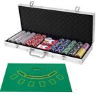 Poker Chip Set 500 Dice Chips Texas Holdem Cards with Silver Aluminum Case New