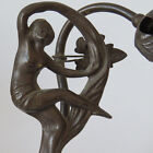 Vintage Dancing Nude with Leaf Plant Art Deco Table Lamp