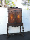 Early 1900's Inlaid Carved China Closet Curio Cabinet 8440