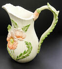 Vintage FITZ FLOYD APRIL FLOWERS 1 1/2 Quart Pitcher Scalloped w/ 3D Poppies