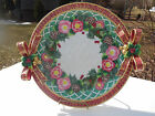 Fitz & Floyd Classics Christmas Wreath Large Serving  Plate Red Bow & Flowers
