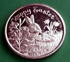 1992 1 oz 999 silver art round HAPPY EASTER BUNNY FLOWERS ORCHID EGGS ROSE