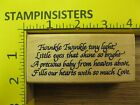 Rubber Stamp Twinkle Tiny Light Baby Poem Saying Stampinsisters 3966