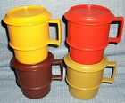 Tupperware Coffee Cups Mugs Harvest Camper Stacking coasters lid vintage lot 4