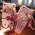 Hot Cute Hello Kitty Tassel Strap Pendant Soft Case Cover for iPhone 6 6S 7 Plus