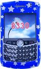 Snap On Case for Blackberry 8330 Curve Blue With Silver Stars