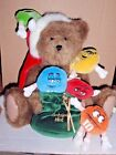 BOYD'S BEAR WITH M&M'S PLUSH BROWN BEAR HOLDING CHRISTMAS HOLIDAY BAG WITH M&M'S