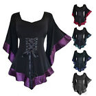 US STOCK Womens Flared Sleeve Lace up Loose T Shirt Goth Punk Tops Blouse Plus