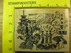 Rubber Stamp Japanese Collage Embossing Arts Geisha Dragon Stampinsisters 2992