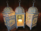 3 lot white Moroccan scrollwork Lantern Candle holder wedding table centerpiece