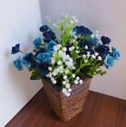 4 Bunches Artificial Dark Blue Rose Flowers With Plastic Babys Breath Grass