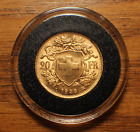 1935 Swiss 20 Franc Gold Helvetia   (.1867 Oz Pure Gold)  Almost Uncirculated