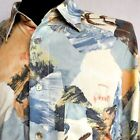 Vintage JEAN MASERIC Men Short Sleeve Shirt Crazy Print Mother Pearl XL 2XL 26