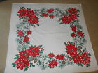 VINTAGE 48x51 CHRISTMAS POINSETTIA PINECONE LINEN FABRIC TABLECLOTH No Stains