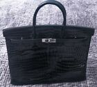 Herms Birkin Bag 40 Porosus Crocodile Noir Black Q Stamp