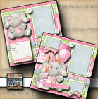 1ST BIRTHDAY BABY GIRL 2 premade scrapbook pages paper piecing layout DIGISCRAP