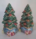 FITZ & FLOYD CLASSICS LARGE CHRISTMAS TREE SALT & PEPPER SHAKERS