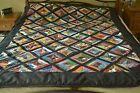 Multi Color on Black Kaleidoscope Quilt 60 x 80 Handmade Q02