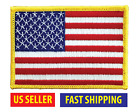 AMERICAN FLAG EMBROIDERED PATCH iron on GOLD BORDER USA US United States