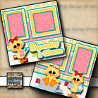 SQUEAKY CLEAN bath girl 2 pre made scrapbook pages paper baby DIGISCRAP A0082