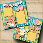 1ST BIRTHDAY girl 2 premade scrapbook pages paper piecing baby DIGISCRAP A0096