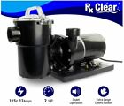 Rx Clear Above Ground 2 HP Swimming Pool Single Speed Pump 115V w Cord