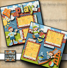 PLAY DAY BOY PARK 2 premade scrapbook pages paper piecing printed DIGISCRAP