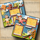PLAY DAY GIRL PARK 2 premade scrapbook pages paper piecing printed DIGISCRAP