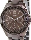 GUESS LADIES STAINLESS CRYSTAL COCOA BROWN FACE WATCH NEW/TAGS/CASE,U13631L1