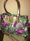 Authentic COACH F16259 Ashley Pink Purple Floral Satchel Crossbody Bag Purse